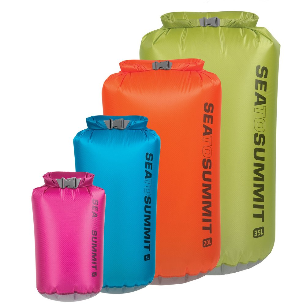 Sea to Summit ultra-sil dry sacks - Believe me, there is no such thing as too many dry bags. I have them in every possible color and size. They are light, durable and waterproof. For clothes, food, camera, electronics, documents, first aid kit... you name it.