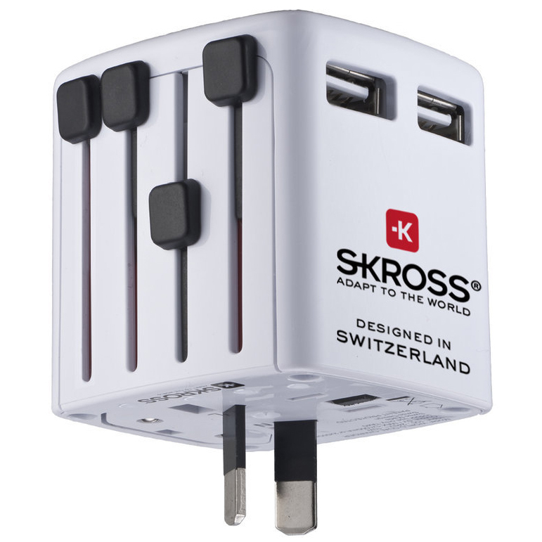 SKROSS Universal Adapter - That's a must for all international travelers. No one would want to get stuck in a foreign country with the wrong plug and dying cell phone! This one has all possible plugs in one box. Additionally, it has two USB charging ports. As the SKROSS one seems a much rare thing in the US, I found a similar device by a different company.