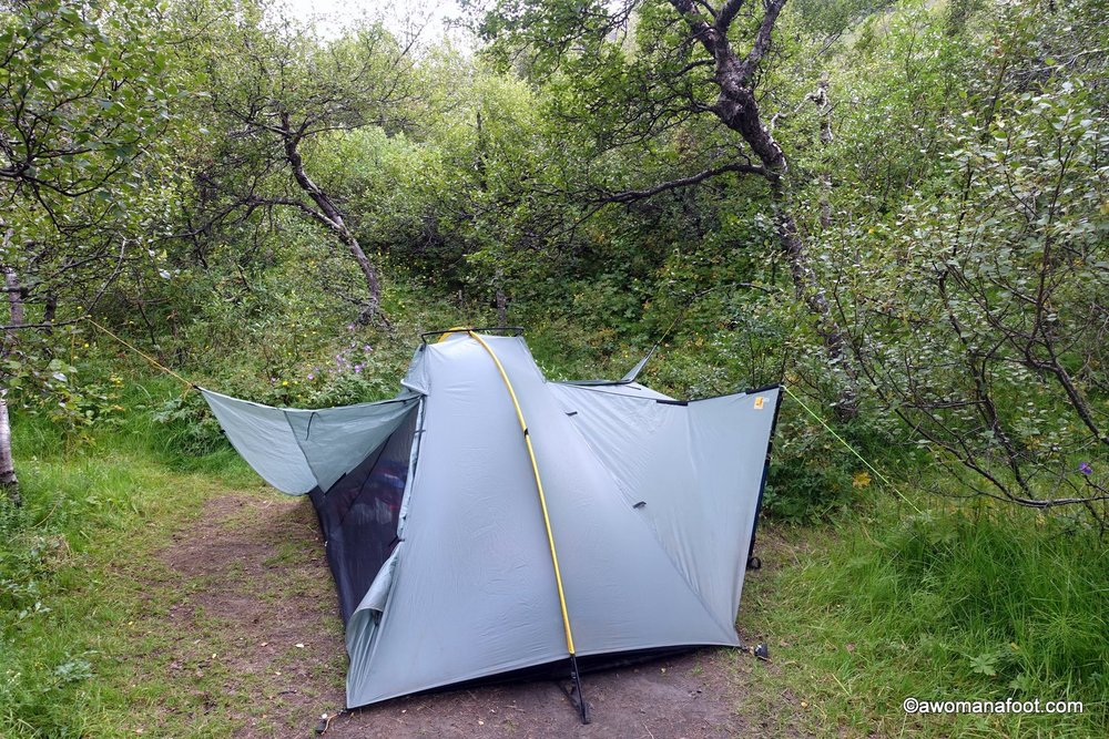 We can't always find such a lovely camping spot with thick but low bushes and trees.