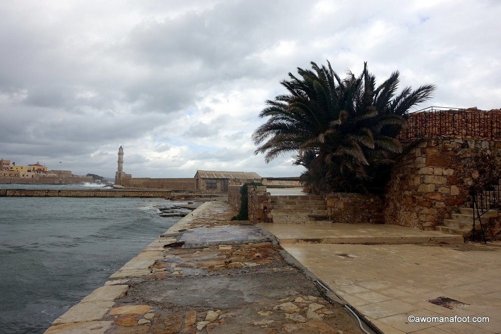 Chania stormy winter crete greece port marina