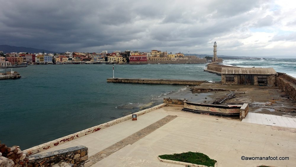 Chania port marina winter crete greece