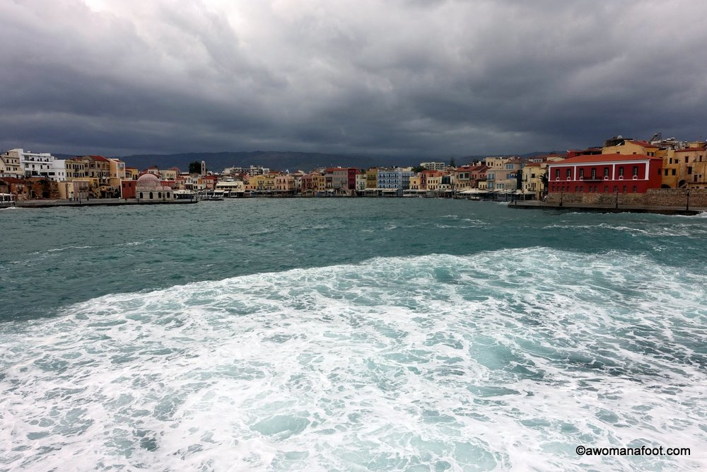 Chania marina port Crete winter Greece