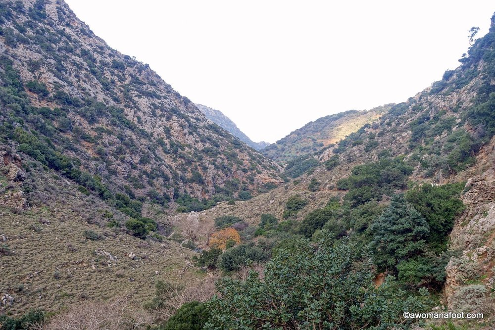 Hiking solo on the Island of Crete, Greece along the E4 trail. Days 1&2 from Kissamos, through beautiful Sirikari Gorge to the village of Kefali. Roads, goats, jumping fences and wild camping - it's all there! Awomanafoot.com #solo #Hiking #E4trail #Crete | Hiking Trails in Europe | Female solo hikers | Hiking on Crete | Wild camping |