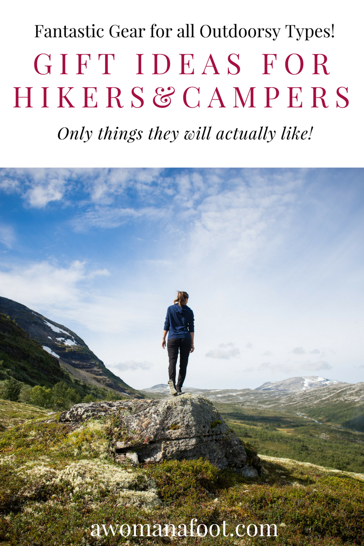 Great Gift Ideas for Hikers & Campers - perfect for every outdoorsy traveler! Use this handy gift guide to find the perfect gift for your Nature loving friend! | Gifts for Hikers | Gifts for her | Gifts for him | Christmas gifts | Hiking Gadgets | awomanafoot.com #gift #GiftGuide #Hiking #Gear #GiftsForHer #GiftsForHim #GiftIdeas #BirthdayGift #Valentine #Christmas #MothersDay #FathersDay #Adventure #Outdoors