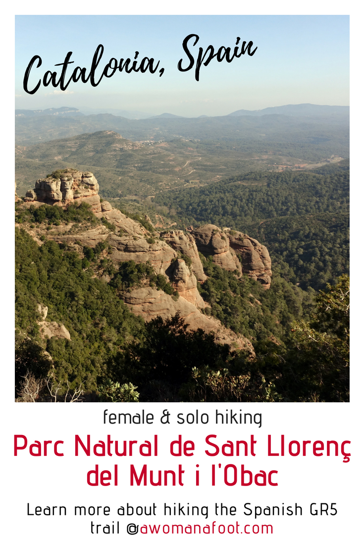 A wonderful destination for solo hikers and nature lovers in Catalonia, Spain: Parc Natural de Sant Llorenç del Munt i l'Obac. awomanafoot.com Learn about hiking the long-distance GR5 trail in Catalonia for unforgettable adventure! | Hiking near Barcelona | Hiking trails in Europe | What to do in Catalonia | Active vacation destinations | Female solo hiking and wild camping | #Catalonia #Spain #solo #hiking #camping #Barcelona #Trail #GR5 #backpacking