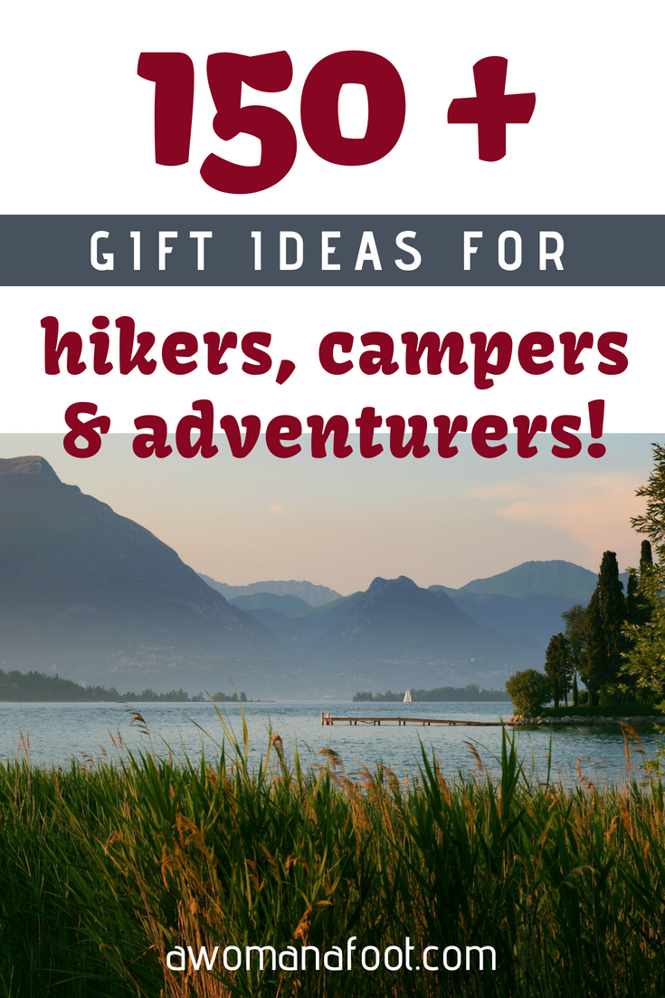 Get flooded with ideas! Find the perfect gift for your favorite hiker, camper, and traveler! 180+ ideas to make your Outdoorsy types happy! Only gifts I would love to get! :) #Giftguide for adventurers |  #gifts  for  #hikers  | gifts for her | gifts for him |  #stocking  stuffers | #ChristmasGifts |  #Hanukkah  gelt | What to give my hiking camping friend |  #giftguide  |  #mountains  Awomanafoot.com #hiking #camping #outdoors #adventure #gear #gadgets