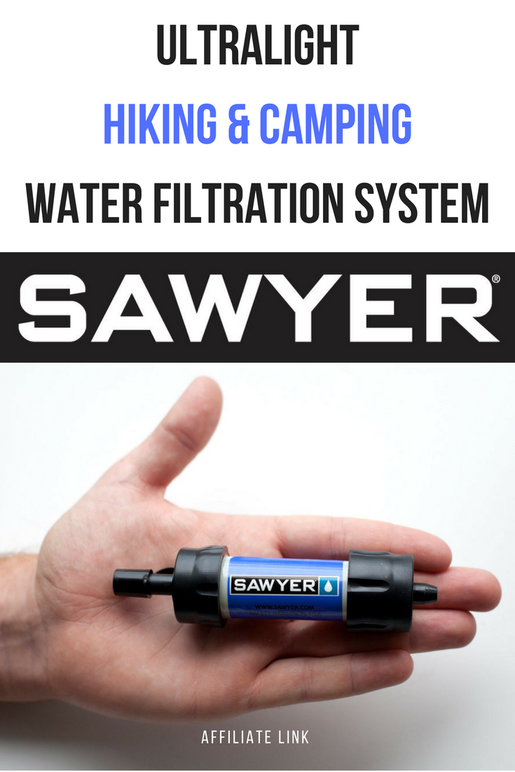 #affiliate | Are you looking for light and reliable water filtration system for your hiking trips? Sawyer mini might be just what you need! It's small, light and perfect for a solo hiker! #hiking #gear #camping #filter #Sawyer #affiliate