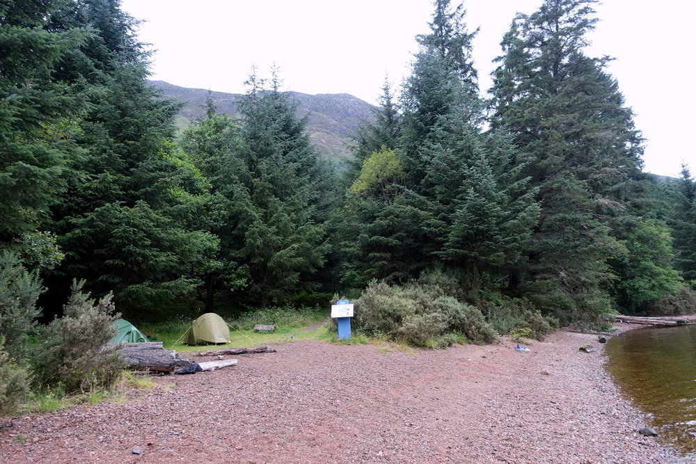 Glas dhoire camping great glen way scotland hiking