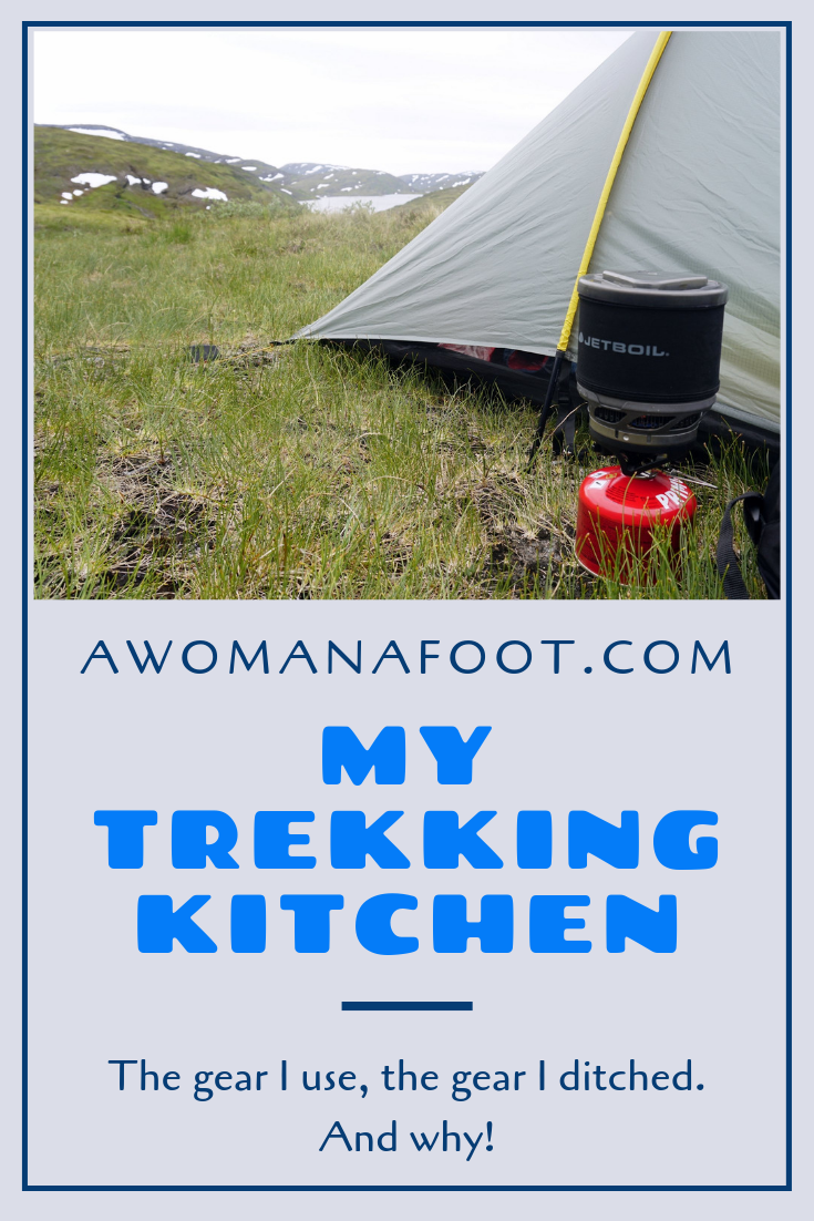 Are you trying to figure out what cooking gear you need for backpacking? I share what works for me - and what I decided to ditch. Check what's in my hiking kitchen! Tips and ideas and backpacking & camping trips! Learn more hiking and camping tips & awomanafoot.com | What cooking gear do I need? | What's best hiking gear? | Light camping gear | Solo hiking and camping | Minimalist gear choices | Backpacking stoves | Trekking kitchen | Best hiking gear | Camping gear for solo hikers | #hiking #camping #gear #solo #cooking #trekking #outdoors #adventure #backpacking