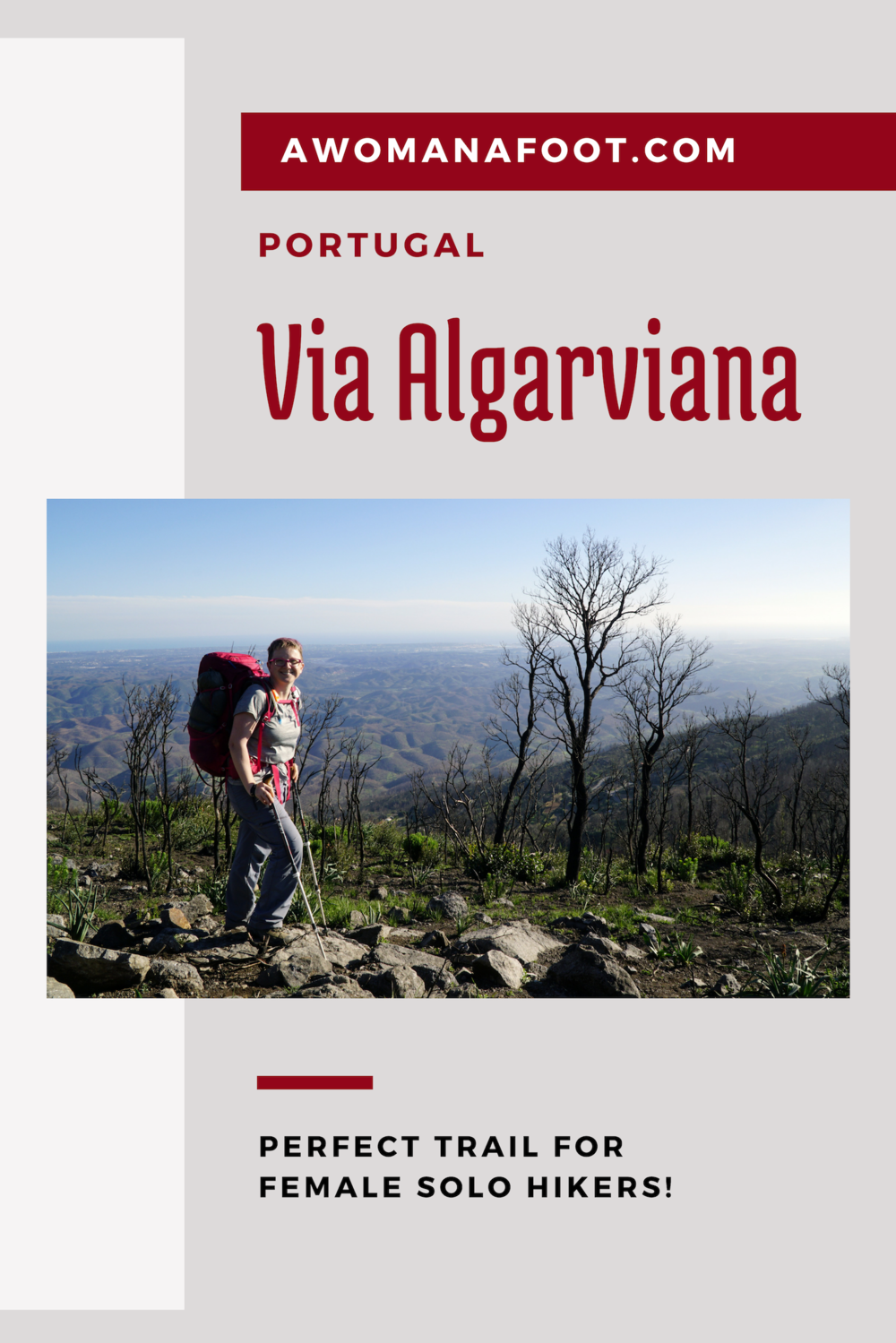 Why Via Algarviana? If you are looking for the perfect long-distance trail for female solo hikers, Via Algarviana in Portugal might be just the ideal destination! Learn more @AWOMANAFOOT.COM | Hiking trails in Europe | Female Solo Hikers | Long-distance trails | Hiking in Portugal | Women Hikers | #ViaAlgarviana #Portugal #Hiking #Camping #BestDestinations #EuropeanTrails #Algarve #Outdoors #Backpacking
