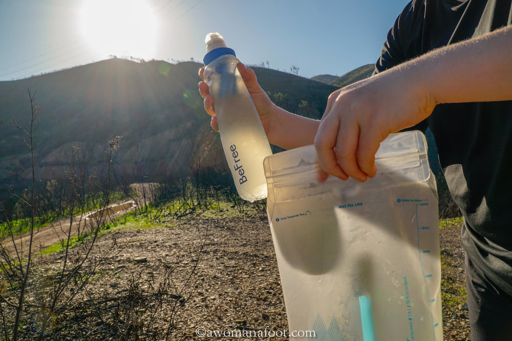 Katadyn BeFree Water Filtration System review by awomanafoot.com. CLICK to learn all the positive and negative sides of this ultralight water filter for backpackers. | Hiking camping Gear & Gadgets | Gear reviews | Outdoor Health & Safety | Water filter for hikers | Ultralight Gear | #hiking #camping #gear #Katadyn #WaterFilter #GearReview #Outdoor #ultralight