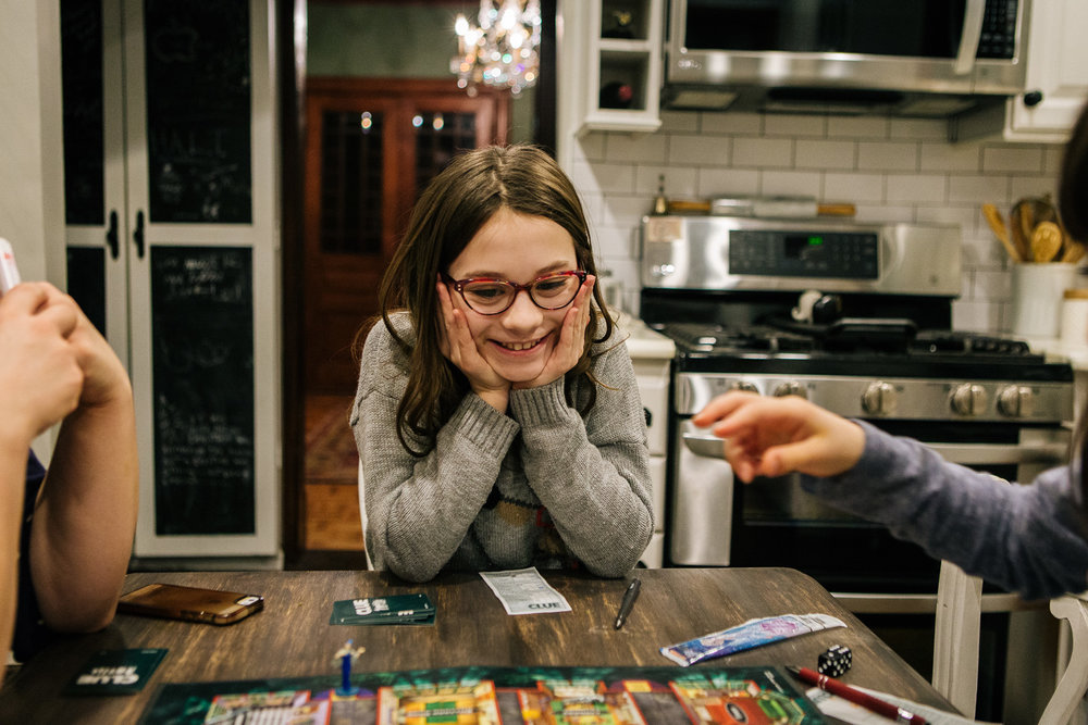 - I know this look. You're happy and confident in the move you just made. You love games and you loving winning even more and think victory is just a few turns away.- Mom