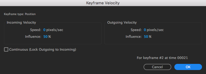 Keyframe Velocity lets you manipulate how much emphasis you want to put on your keyframes' properties