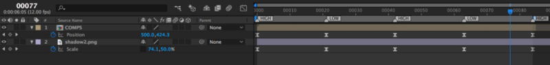 The scale of the shadow and position of the icons are lined up (they even have the same keyframe velocity)