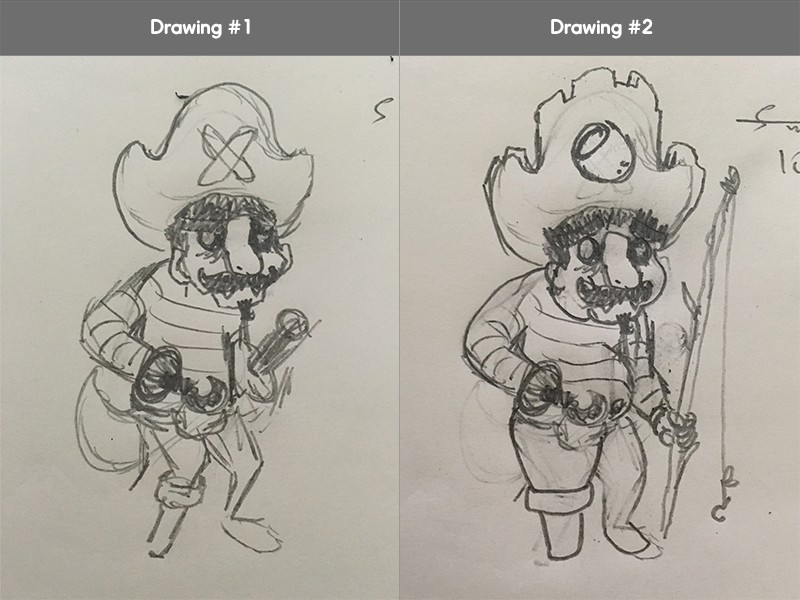 A fantastic example of how a traditional pirate drawing has been altered to fit the characteristics of our second brief.