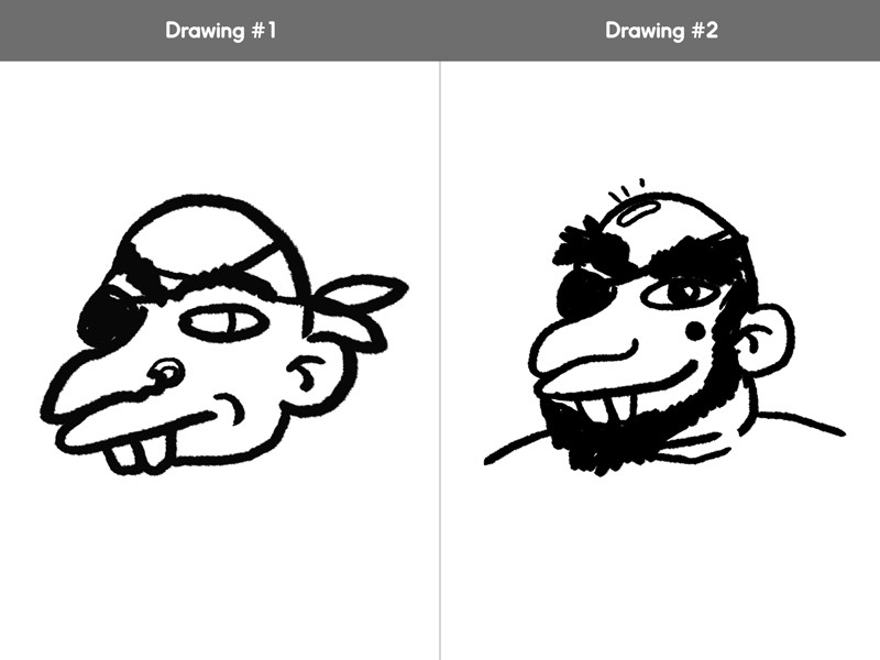 While the second drawing still definitely reads pirate, the subtle changes from the first give him more character.