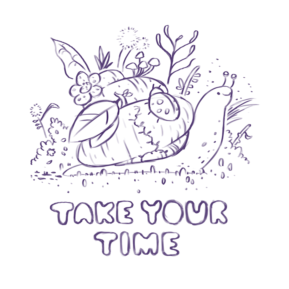 All good illustrations start out with a tight drawing. After studying some snails, plants and insects I put together the final design that you see above.