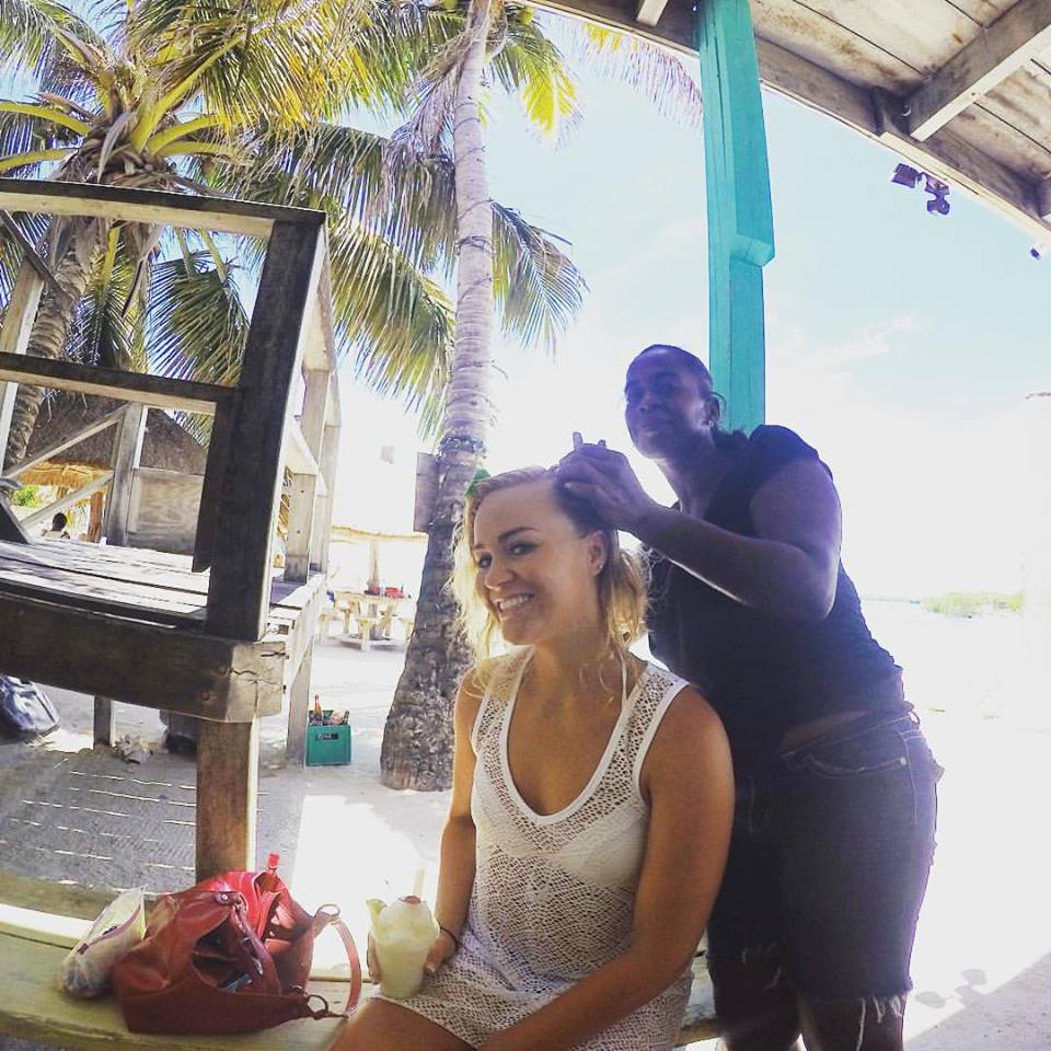 Got my hair braided by a local the first time we visited Belize! (our honeymoon trip two years ago)