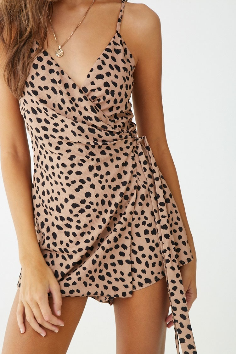 Forever 21 Cheetah Print Wrap-Front Romper