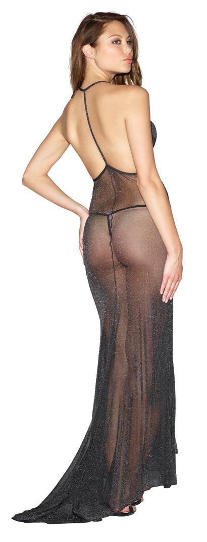 Metallic Mesh Gown & Thong - 10013-LIN(back).jpg