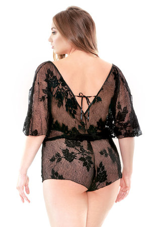 ab51386193e Stretch Lace Romper with Adjustable Waist and Snap Closure ...