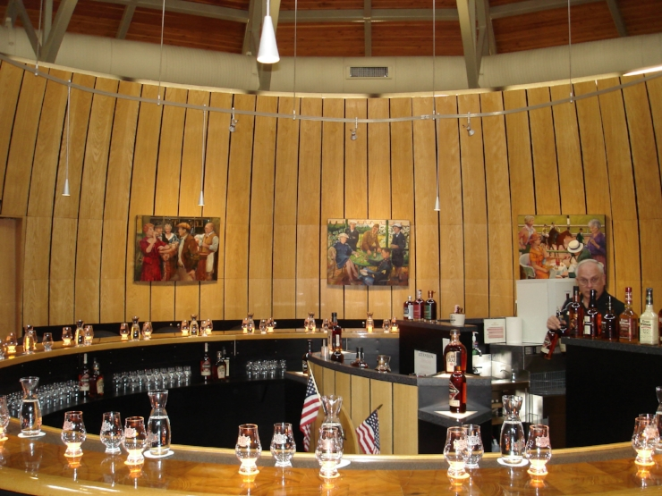 "Inside the   ""Bourbon Heritage Center""   is a Bourbon Barrel Stave shaped Tasting Room."