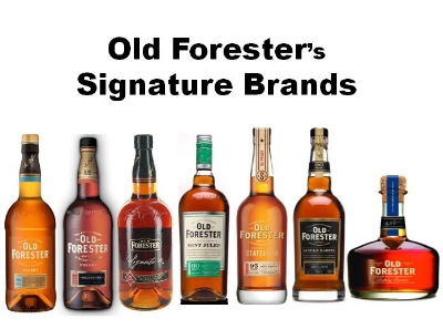 Old Forester's Signature line of brands (pictured above from left to right);   Old Forester   (Flagship brand, 86 Proof),   Old Forester Signature   (100 Proof), Old Forester Signature (old packaging),   Old Forester Mint Julep   (Flavored Whiskey, 60 Proof),   Old Forester Statesman   (from the Kingsman Movie Series, 95 Proof),   Old Forester Single Barrel   (90 Proof),   Old Forester Birthday Bourbon   (a new Version released on George Garvin Brown's Birthday each year).