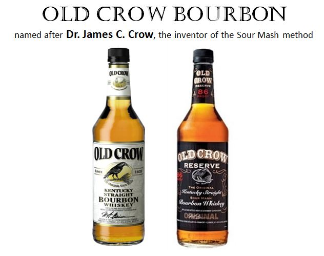 """Two brands currently produced by Jim Beam are named after the inventor of the """"Sour Mash Method,""""   Dr. James Crow. T  hey are pictured above in   Old Crown Kentucky Straight Bourbon Whiskey   (aged 3 years, 80 Proof) and   Old Crow Reserve   (aged 4 years, 86 Proof)."""
