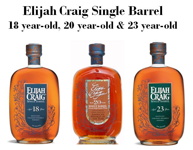 """Elijah Craig,   the   """"Father of Bourbon,""""   has had several of the oldest Single Barrel Bourbon brands named after him as well. They are, pictured above from left to right are,   Elijah Craig 18 year-old Single Barrel, Elijah Craig 20 year-old Single Barrel   and   Elijah Craig 23 year-old Single Barrel."""