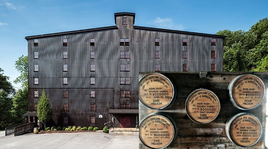 Warehouse H at the Barton/1792 Distillery is located closest to the Fermentation building. Pictured inside Warehouse H is a display that holds the 1,000,000th barrel that they filled as well as the 2nd millionth, 3rd millionth, 4th millionth and the 5th million barrel. The 6,000,000th barrel is aging in that same warehouse.