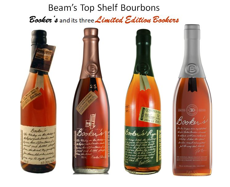 """Booker's Bourbon (far left) now introduces four   """"Small Batch""""   releases every year during the four seasons. But they have also come out with some specialty   """"Limited Releases""""   like   Booker's 25th Anniversary, Booker's Rye   and   Booker's 30th Anniversary."""