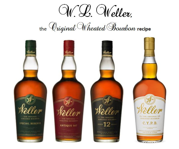 Weller Special Reserve   (Green Label);   Weller Antique 107 (  Red Label);   Weller Aged 12 Years   (Black Label);   Weller C. Y. P. B.   {Craft your Perfect Bourbon} (White Label).
