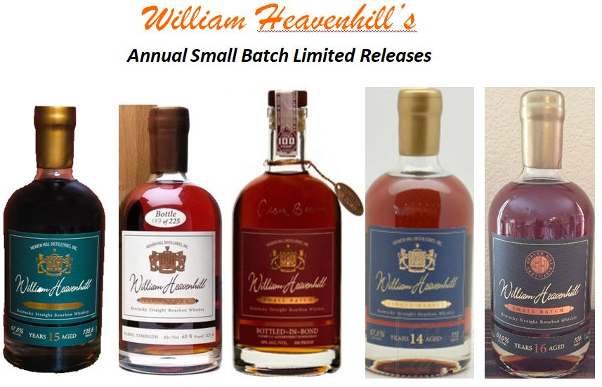 1.) William Heavenhill   15 year-old Cask Strength   (2015) 144.6 Proof (Green Label) 4th Edition  2.) William Heavenhill   18 year-old Small Batch   (2013) 127.6 Proof (White Label) 2nd Edition  3.) William Heavenhill   Bottled-in-Bond Small Batch   (2014) 11 year-old, 100 Proof (Red Label) 3rd Edition  4.) William Heavenhill   14 year-old Single Barrel   (2017) 115 Proof (Blue Label) 5th Edition  5.) William Heavenhill   16 year-old Small Batch   (2018) 106 Proof (Black Label) 6th Edition