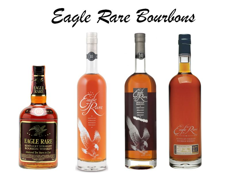 Charlie Beam invented Eagle Rare and it was sold by Four Roses to Buffalo Trace who makes Eagle Rare in three current varieties today (from left to right):  1.)   Eagle Rare 10 year-old   (Old packaging) 101 Proof  2.)   Eagle Rare Small Batch 10 year-old   (Buffalo Trace's Top Selling Super Premium Brand)  3.)   Eagle Rare Single Barrel    4.)   Eagle Rare Antique Collection 17 year-old