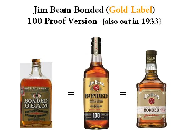 Original Version of   Bonded Beam   in 1933, 1980's Version of   Jim Beam Bonded   (Gold Label) and the current bottle for   Jim Beam Bonded   (Gold Label). All three versions are Bottled at  100 Proof  and  Aged 5 Years .