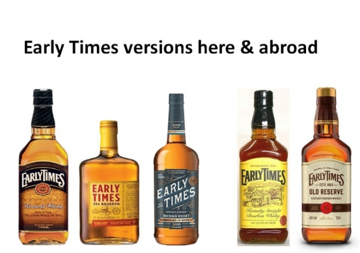 Early Times Bourbon & Whiskey variations that are found both in the United States and abroad. (left to right); 1.)   Early Times Blended Whiskey,   2.)   Early Times 354 Bourbon,   3.)   Early Times Bottled-in-Bond Bourbon   (100 proof), 4.)   Early Times Yellow Label   (available in Japan), 5.)   Early Times Old Reserve   (available in the United Kingdom).