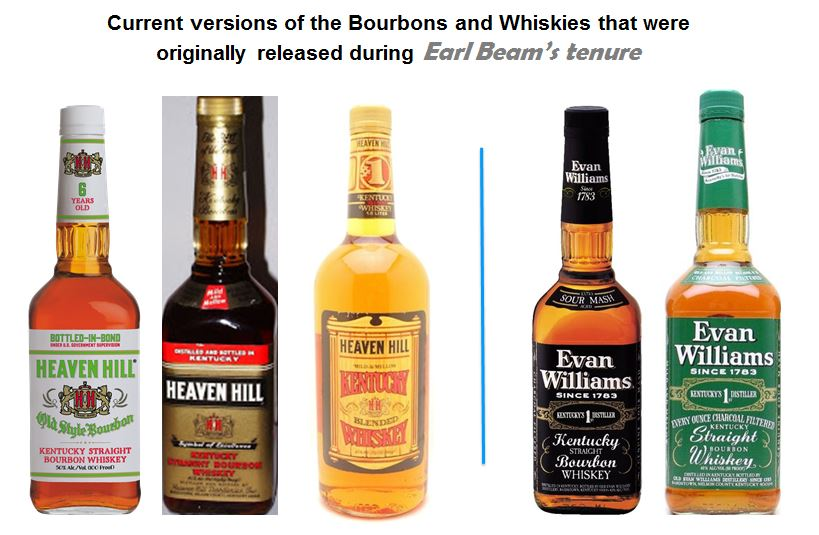 """Here are the Current versions of the bourbons and whiskies that were released during   """"Earl Beam's""""   tenure. They include;   1.) Heaven Hill Old Style Bottled-in-Bond 6 year-old   (White Label),   2.) Old Heaven Hill,   3.)   Heaven Hill Blended Whiskey  , 4.)   Evan Williams  (Black Label)  their """"Flagship Brand"""", 5.)   Evan Williams Green Label   (Bar Brand)."""