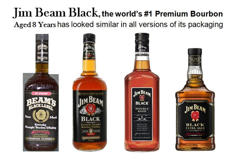 Jim Beam Black,   the World's #1 Premium Bourbon was  released at the end of Jere & Carl Beam's tenure.  It is  aged 8 years  and has looked similar in all its versions of packaging.