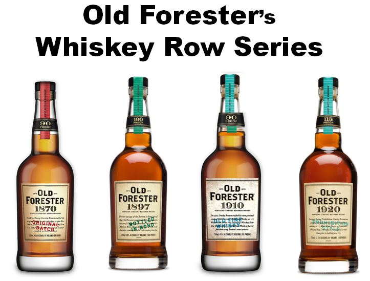 "Old Forester   was the first Bourbon ever sealed in a bottle by   George Garvin Brown  . Beginning in 2015   Brown-Forman   released the   ""Whiskey Row Series""   with a different recipe each year for four years. The first release is exactly the same recipe that George Garvin Brown used in 1870. Pictured above from left to right;   Old Forester 1870 Original Batch   (Red Tax Stamp, 90 Proof),   Old Forester 1897 Bottled-in-Bond   (Green Tax Stamp, 100 Proof),   Old Forester 1910 Old Fine Whiskey   (Light Blue Tax Stamp, 93 Proof), and   Old Forester 1920 Prohibition Style   (Teal Tax Stamp, 115 Proof)."