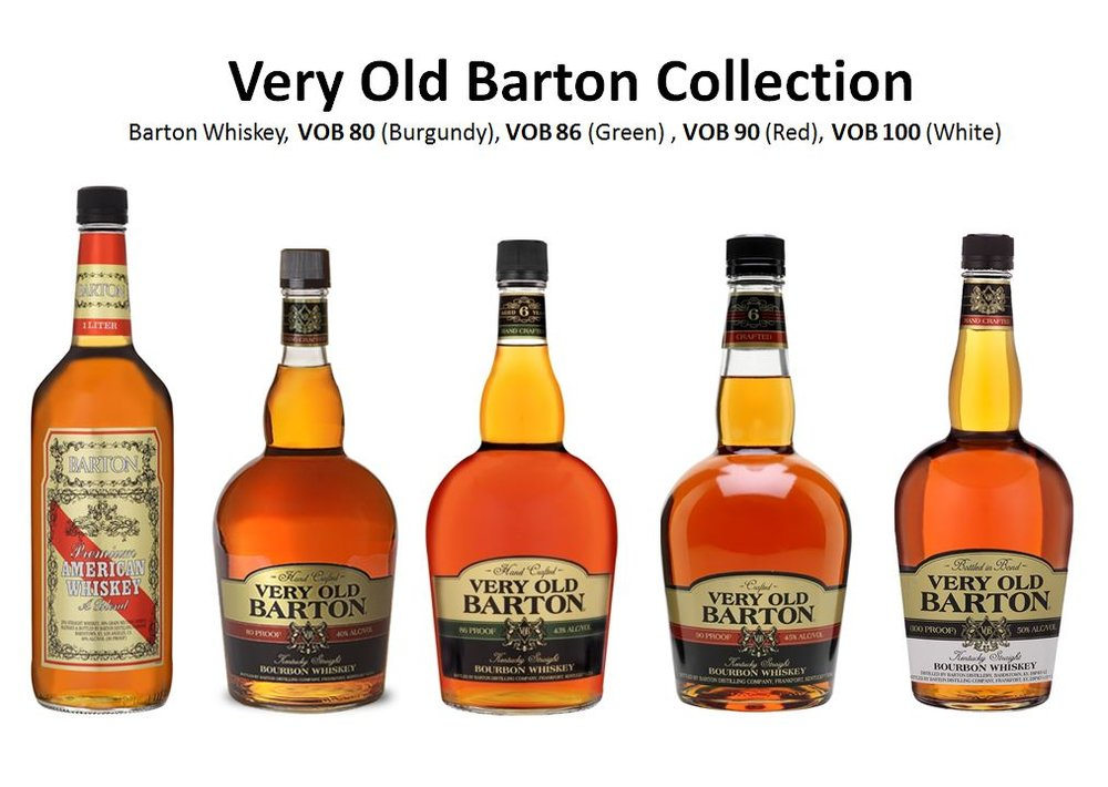 The Flagship Brand of Barton/1792 Distillery is Old Barton, which was a name picked out of a hat by former company owner   Oscar Getz.   They are pictured above from left to right; B  arton Premium American Whiskey, a Blend, Very Old Barton   (Burgundy Stripe, 80 Proof),   Very Old Barton   (Green Stripe, 86 Proof),   Very Old Barton   (Red Stripe, 90 Proof) and   Very Old Barton Bottled-in-Bond   (White Label, 100 Proof).