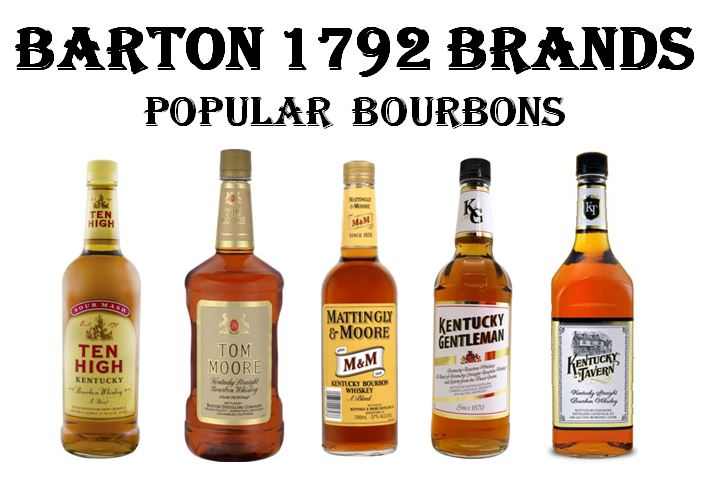 Some of the bourbon brands being made during   Oscar Getz  's tenure are still strong sellers for Barton/1792. Pictured above, from left to right are;   Ten High Bourbon, Tom Moore Bourbon, Mattingly & Moore Bourbon, Kentucky Gentleman   and   Kentucky Tavern.