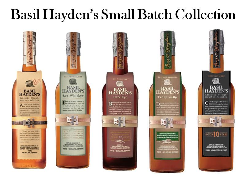 A line of Small Batch Whiskies is named after legendary   Basil Hayden  . Pictured above from left to right are;   Basil Hayden Small Batch Bourbon   (Beige Label, the Original released in 1992),   Basil Hayden Rye   (Green Label, 2017),   Basil Hayden Dark Rye   (Burgundy Label, 2018),   Basil Hayden Two by Two Blended Rye Whiskey   (Brown and Green Label, 2018) and   Basil Hayden 10 Year-Old Bourbon   (Black Label, 2019).