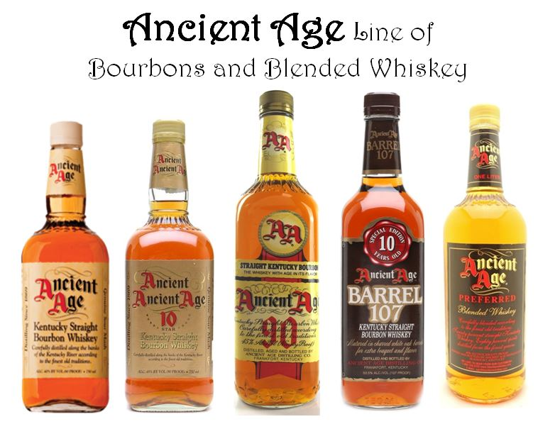 Ancient Age   is one of the Bourbons developed by   Orville Schupp   when he was at   Schenley Distillers, Inc.    Pictured above are some of the current versions and recent past versions: (from left to right):  1.)   Ancient Age Bourbon   (80 Proof), 2.)   Ancient Age 10 Star   (90 Proof, aged 5 years), 3.)   Ancient Age 90   (90 Proof) 4.)   Ancient Age Barrel 107   (107 Proof), 5.)   Ancient Age Preferred Blended Whiskey   (80 Proof).