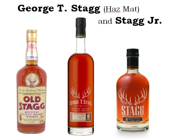 "Old Stagg   was one of the Bourbons developed by   Orville Schupp   when he was at   Schenley Distillers, Inc.   That brand along with Ancient Age have been bought and reintroduced by   Buffalo Trace,   The   ""Old Stagg""   brand has changed its name to   ""George T. Stagg""    Pictured above are the original version and current versions: (from left to right): 1.)   Old Stagg   (86 Proof),  2.)   George T. Stagg   (128 to 144.8 Proof from the BTAC Collection), 3.)   Stagg, Jr.   (120-128 Proof)."