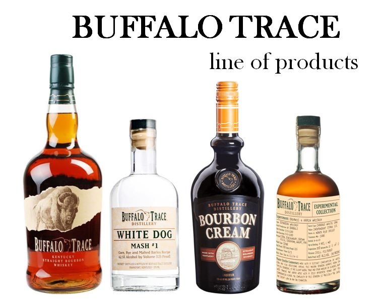 """Freddie Johnson shares three of the brands carrying the """"Flagship"""" label of Buffalo Trace at the end of every tour; pictured above from left to right: 1.)   Buffalo Trace Bourbon,   2.)   Buffalo Trace White Dog   (4 Mash Bill variations), 3.)   Buffalo Trace Bourbon Creme   and 4.)   Buffalo Trace Experimental Collection."""