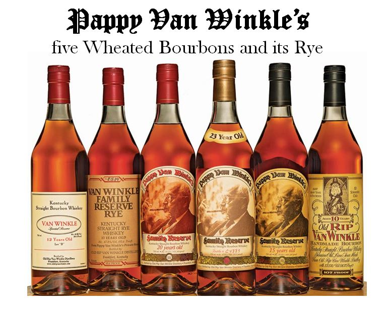 "Freddie Johnson  share stories of his experiences with his father and the famed Pappy Van Winkle brands on his tours at Buffalo Trace. The line of Pappy Van Winkle includes six brands, five Wheated Bourbons and one Rye (left to right): 1.)   Van Winkle 12 year-old Lot ""B,""   2.)   Van Winkle Family Reserve Rye   (13 year-old), 3.)   Pappy Van Winkle 20 year-old  , 4.)   Pappy Van Winkle 23 year-old,   5.)   Pappy Van Winkle 15 year-old   and     6.)   Old Rip Van Winkle 10 year-old"