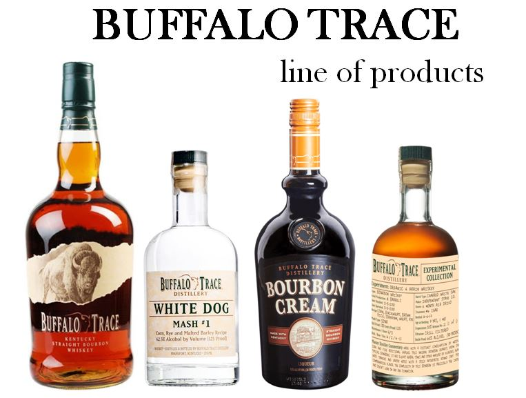 """Wheatley shepherded in the """"Flagship brand"""" of Buffalo Trace. Brands with the name Buffalo Trace on the label (left to right): 1.)   Buffalo Trace Bourbon  ,     2.)   Buffalo Trace White Dog   (4 Mash Bill variations),         3.)   Buffalo Trace Bourbon Creme  , 4.)   Buffalo Trace Experimental Collection  ."""