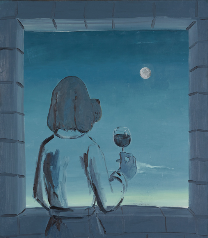 "Thoughts on Proximity (Moon Dog) Cy Amundson 2012 Oil on canvas 65"" x 52.5"""