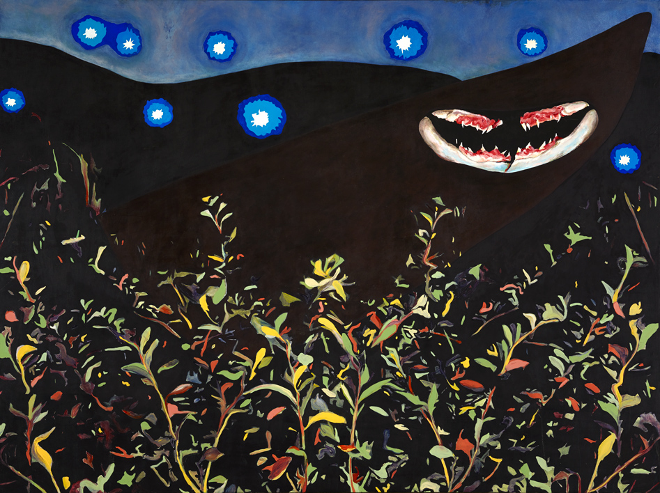 "Night Walk Mariano Chavez 2003 Oil and wax on canvas 96"" x 72"""