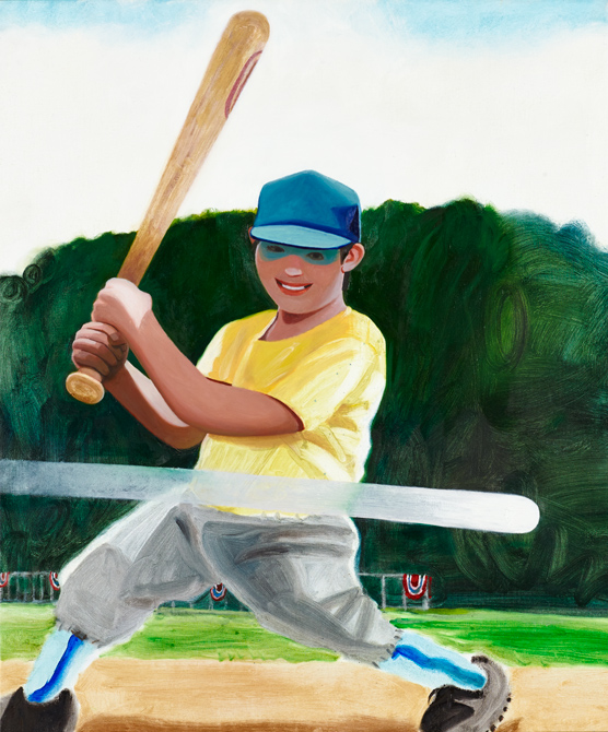 "Town League Slugger Daniel Heidkamp 2014 Oil on linen 36"" x 30"""